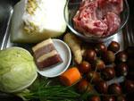 栗子、肋骨(豚あばら肉)、生姜、葱、春心菜(キャベツ)、花椒(中華山椒)、冬瓜、火腿(中華ハム)