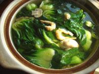 開洋干貝菜心湯(干し蝦と干し貝とチンゲン菜のスープ)
