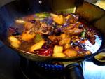 麻辣火鍋の薬味セットで麻辣焼芋頭