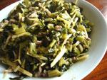 冬筍咸菜肉絲(細切り肉と冬筍と塩漬け野菜の炒めもの)
