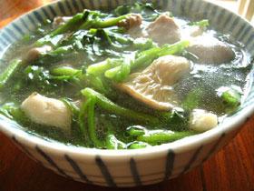 西洋菜菌�湯(クレソンとキノコのスープ)
