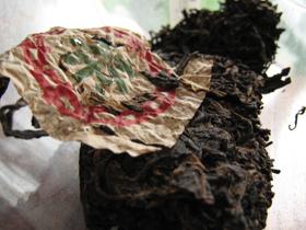 早期藍印鉄餅50年代 (圓茶鉄餅プーアル茶)