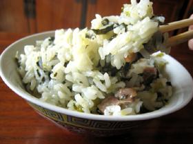 菜飯(チンゲン菜と塩漬け干し豚肉の炊き込みご飯)