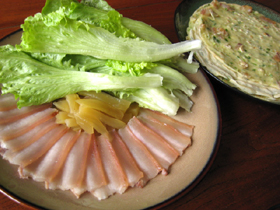 咸肉泡萵笋包餅