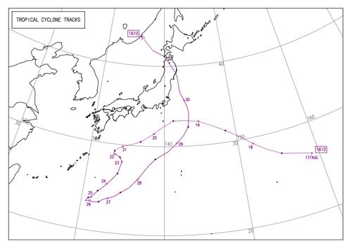 過去の台風進路