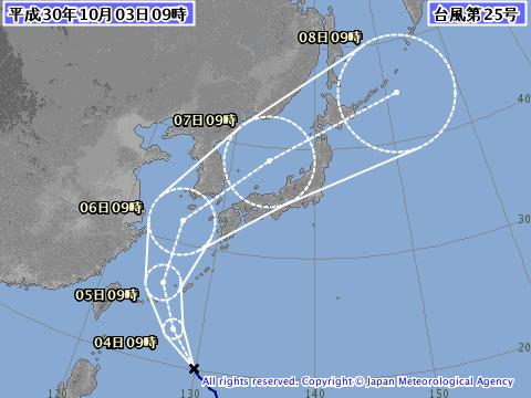 気象庁2018年10月3日9時発表の台風25号予想進路図