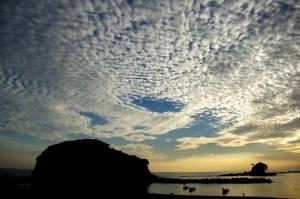 あづり浜夕陽−1