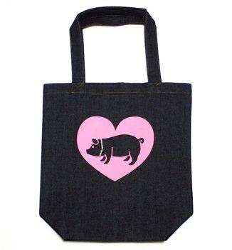 豚に真珠デニムトートバッグ