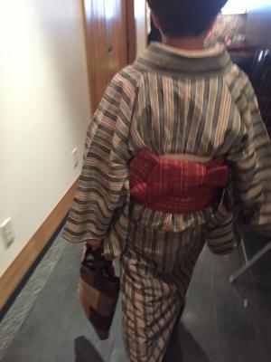 初代の半幅 着物も帯も絹