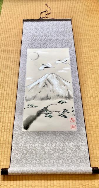 富士山と鶴と松の掛け軸