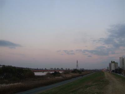20081201荒川の土手夕焼け8