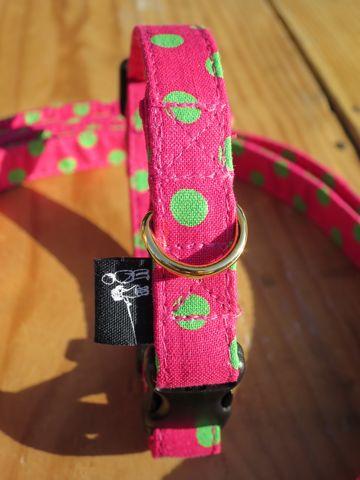 フントヒュッテオリジナル首輪カラーリードリーシュハーネス文京区かわいい犬の首輪東京ヴィンテージ生地ファブリック水玉模様ポルカドット Polka Dot Collar Leash Harness_5.jpg