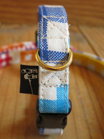 フントヒュッテオリジナル首輪カラーリードリーシュハーネス文京区かわいい犬の首輪東京クレイジーパターンギンガムチェック Crazy Pattern : Gingham Check Collar Leash Harness_5.jpg