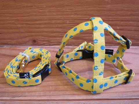 フントヒュッテオリジナル首輪カラーリードリーシュハーネス文京区かわいい犬の首輪東京ヴィンテージ生地ファブリック水玉模様ポルカドット Polka Dot Collar Leash Harness_9.jpg