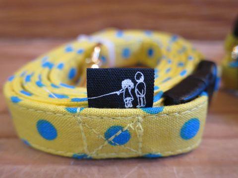 フントヒュッテオリジナル首輪カラーリードリーシュハーネス文京区かわいい犬の首輪東京ヴィンテージ生地ファブリック水玉模様ポルカドット Polka Dot Collar Leash Harness_11.jpg