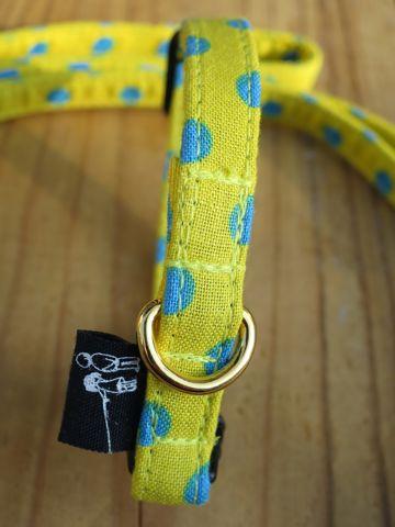 フントヒュッテオリジナル首輪カラーリードリーシュハーネス文京区かわいい犬の首輪東京ヴィンテージ生地ファブリック水玉模様ポルカドット Polka Dot Collar Leash Harness_19.jpg
