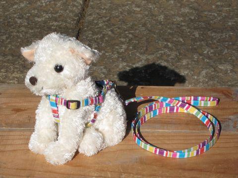 フントヒュッテオリジナル首輪カラーリードリーシュハーネス文京区hundehutte東京かわいい犬の首輪ヴィンテージ生地柄カラフルボーダー Colorful Border Collar Leash Harness_4.jpg