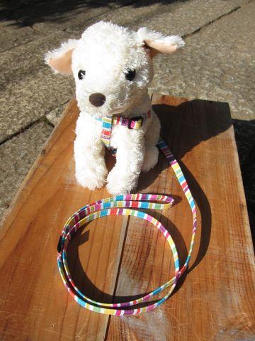 フントヒュッテオリジナル首輪カラーリードリーシュハーネス文京区hundehutte東京かわいい犬の首輪ヴィンテージ生地柄カラフルボーダー Colorful Border Collar Leash Harness_5.jpg
