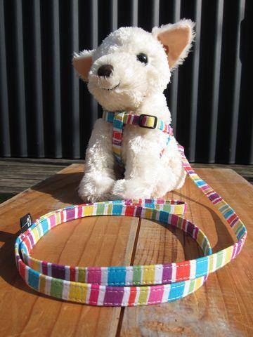 フントヒュッテオリジナル首輪カラーリードリーシュハーネス文京区hundehutte東京かわいい犬の首輪ヴィンテージ生地柄カラフルボーダー Colorful Border Collar Leash Harness_7.jpg