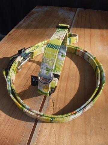 フントヒュッテオリジナル首輪カラーリードリーシュハーネス文京区hundehutte東京かわいい犬の首輪ビンテージファブリック生地グリーン緑 Green, Green Collar Leash Harness_2.jpg