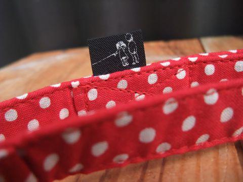カラーリードハーネス犬用首輪ドッググッズ都内フントヒュッテオリジナルグッズ東京ヴィンテージファブリックビンテージ生地ミニー水玉模様polka dot_5.jpg