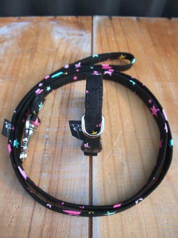 フントヒュッテオリジナル首輪カラーリードリーシュハーネス文京区hundehutte東京かわいい犬の首輪ヴィンテージ生地ファブリック星柄の生地 STAR FRUITS Collar Leash Harness_1.jpg