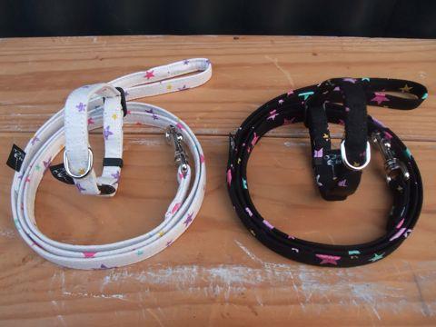 フントヒュッテオリジナル首輪カラーリードリーシュハーネス文京区hundehutte東京かわいい犬の首輪ヴィンテージ生地ファブリック星柄の生地 STAR FRUITS Collar Leash Harness_2.jpg