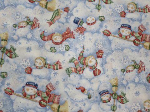 スノーマン The Snowman 1978年出版 レイモンド・ブリッグズ原作の絵本 アニメーション作品 クリスマス 生地 柄 輸入 海外 ファブリック ゆきだるま 画像 1.jpg