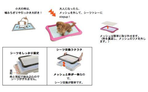 Richellリッチェルしつけ用ステップトレー幼犬時にはメッシュタイプ。大人になったらメッシュを外して使用できるトイレトレー。犬用トイレトレー画像オススメ犬トイレ躾_5.jpg