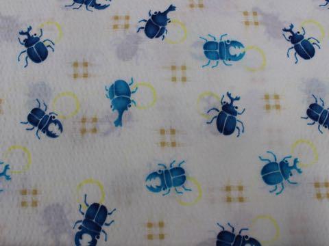 夏 生地 サッカー リップル 浴衣 甚平 涼しい ファブリック 柄 カブトムシ カブト虫 かぶと虫 クワガタ くわがた虫 クワガタ虫 かわいいプリント生地 画像 1.jpg