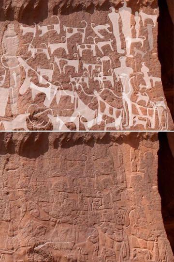 最古の犬の絵か? 狩りやペットの歴史にも一石 サウジアラビアで発見、紀元前5000〜紀元前8000年とも_2