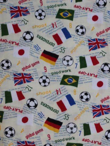 サッカーワールドカップ生地サッカー柄プリント生地国旗ブラジルドイツフランスイタリア日本サッカーボール生地柄画像 MADE IN JAPAN _ 1.jpg