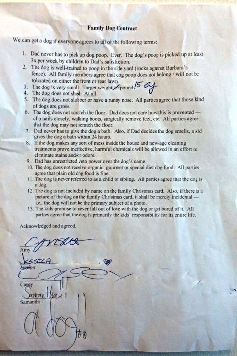 犬を欲しがる我が子に父親がつきつけた過激な「犬を飼うにあたっての契約書」 _ 2.jpg