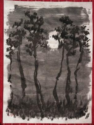 松カラ之月之図