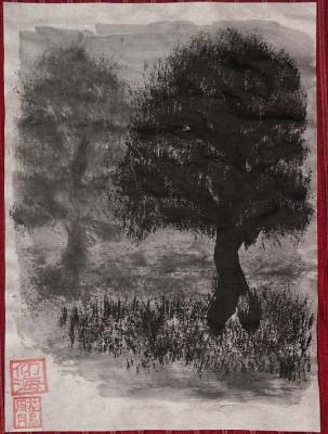 夜之木二本之図