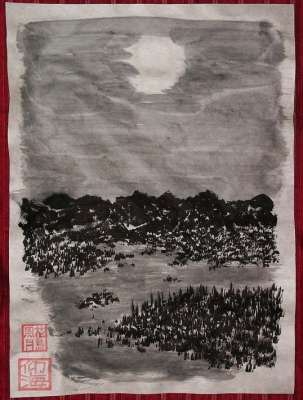 月夜之川辺之図