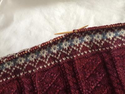 裾の編み込み