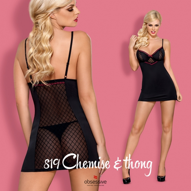 Obsessive 819-CHE-1 chemise and thong