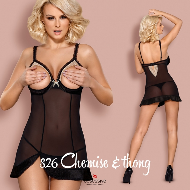 Obsessive 826-CHE-1 chemise and thong