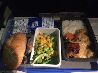 ユナイテッド航空機内食夕食