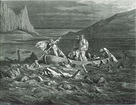 ドレ ダンテ『神曲』フレギュアスが漕ぐ舟に乗り沼を渡るヴェルギリウスとダンテ