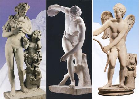 左から《ディオニュソス》《円盤投げ》《エロス》