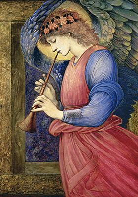 エドワード・コーリー・バーン・ジョーンズ《フランジオレットを吹く天使》