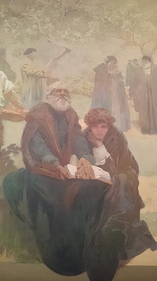 《イヴァンチツェの兄弟団学校》部分、老いた盲人に聖書を朗読する少年