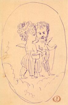 ギュスターヴ・モロー《雲の上を歩く翼あるアレクサンドリーヌ・デュルーとギュスターヴ・モロー》