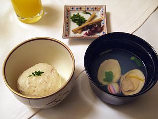 鯛飯と蛤のお吸い物