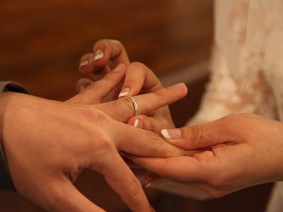 自由学園明日館ウェディング当日 挙式リハーサル 指輪の交換
