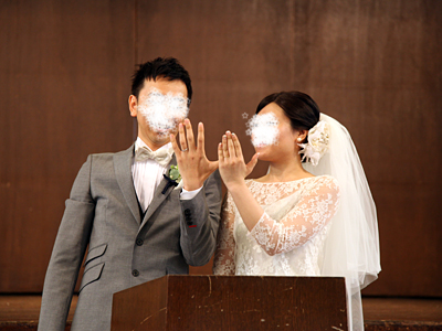 自由学園明日館ウェディング当日 挙式 結婚指輪披露