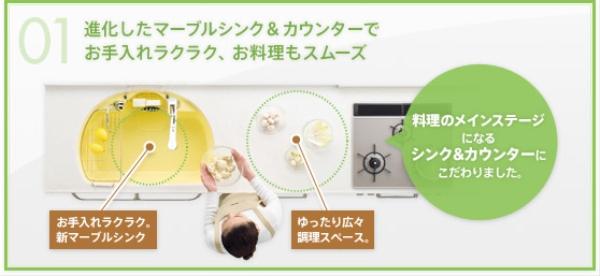 YAMAHAヤマハシステムキッチン『berry(ベリー)』の人造大理石カウンター(画像)