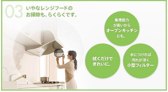 YAMAHAヤマハシステムキッチン『berry(ベリー)』レンジフード(換気扇)のお手入れや掃除が楽チン(画像)